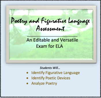 Assessment: Poetic Terms and Poetry, Figurative Language. Test, Quiz