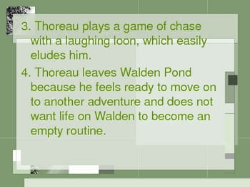 Quiz over Walden by Henry David Thoreau