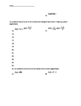 Quiz over combinations of, composite, inverse functions
