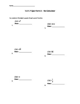 Quiz over parent functions and transformations