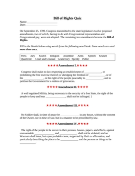 Quiz over the Bill of Rights