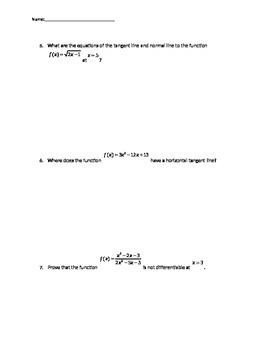 Quiz over the definition of a derivatives and differentiality