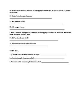 Quiz: tener and time (Avancemos Spanish I)