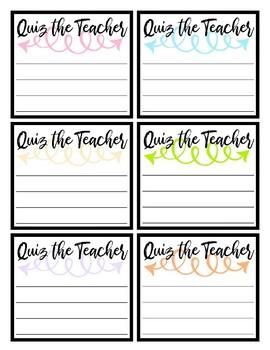Quiz the Teacher Cards