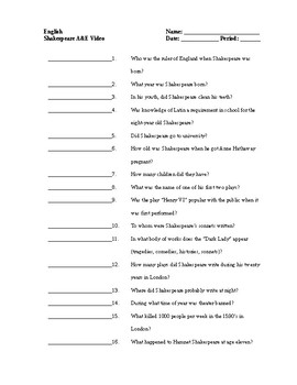 Quiz to Accompany A&E Presents: Biography: William Shakespeare: A Life of Drama