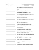 Quiz to Accompany A&E Presents: Biography: William Shakesp