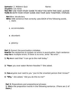 Quiz-vocabulary, quotation marks, prepositions and preposi