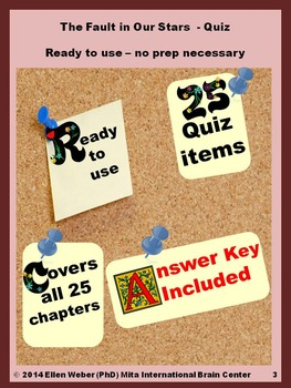 Quiz with Answer Key for The Fault of Our Stars - No Prep - Ready to Use