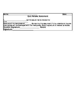 Quiz/Test Retake Statement