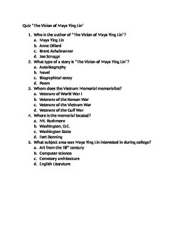 """Quiz/Test for """"The Vision of Maya Ying Lin"""""""
