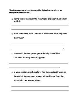 Quiz/Test on Explorers