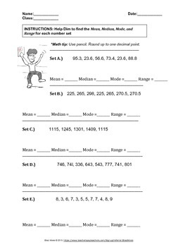 Quiz/Worksheet for Mean, Median, Mode, and by Brad Hines