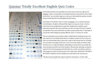 Quizstar Totally Excellent English Quiz Codes
