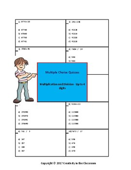 Quizzes - Multiplication and Division - Up to 4 Digits