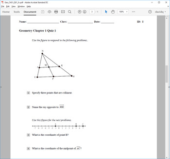 Quizzes and Test for Geometry Chapter 1 (Jurgensen Geometry)