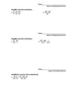 Quizzes and Tests on Algebra Fractions (rational expressions) by ...