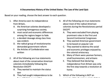 Quizzes for A Documentary History of the Untied States