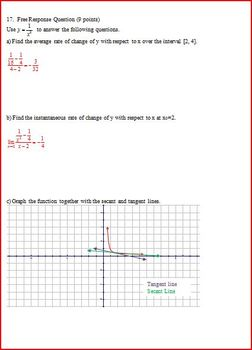 Quizzes on Derivatives Definition and Average Rates