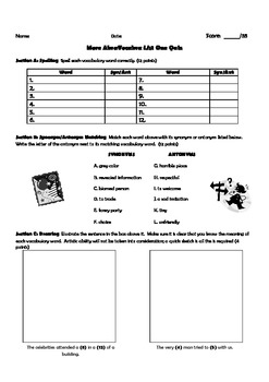 "Quizzes to Supplement ""More Abra Vocabra"" Lists 1-4"