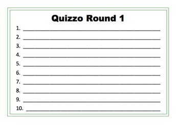 Quizzo! Answer Sheets