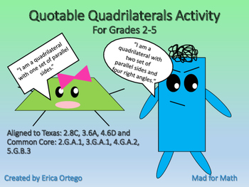 NEW Quotable Quadrilaterals Geometry Activity Grades 2-5