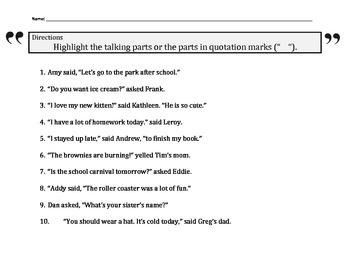 Quotation Color Worksheet