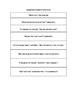 Quotation Marks Group Work Practice
