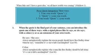 Quotation Integration: MLA by Professor Muldrow | Teachers Pay ...