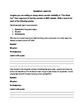 Quotation Lead-Ins Worksheet