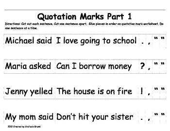 Quotation Mark Activities and Worksheets by Stefanie Bruski | TpT