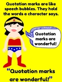 Quotation Mark Posters & Practice Pages (Superhero Theme)