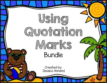 Quotation Mark Powerpoint and Task Cards Bundle
