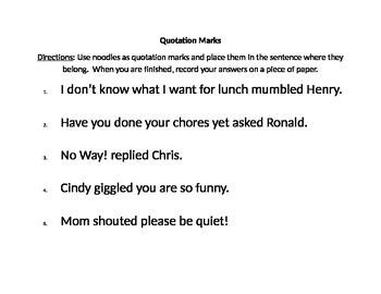 Quotation Mark Practice