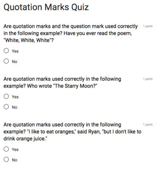 Quotation Mark Rules Grammar Test