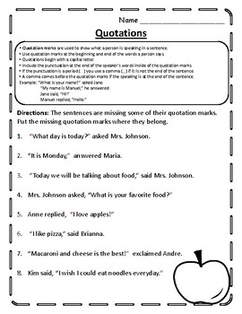 Quotation Mark Worksheet Quotation Practice Quotation Marks Worksheet Grammar