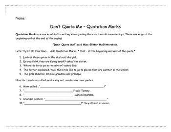 Quotation Mark and Helping Verb Worksheets