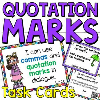 Using Quotation Marks and Commas in Dialogue Task Cards for Third Graders