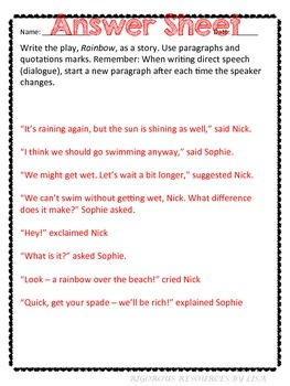 Quotation Marks -Practice Using Correct Paragraphing and Quotation Marks