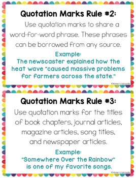 Quotation Marks Dialogue Anchor Charts and Task Cards