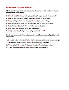 ELA QUOTATION MARKS Punctuating Direct & Indirect Quotes Worksheets x4 & Test