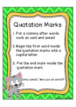 Quotation Marks Anchor Chart   Free!