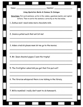 quotation marks in dialogue worksheet practice by tltussing tpt. Black Bedroom Furniture Sets. Home Design Ideas