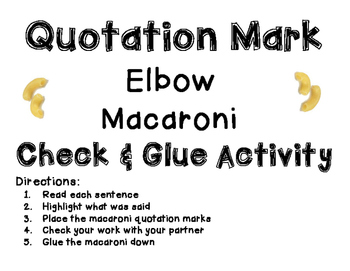 Quotation Marks Interactive Activity