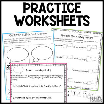 Quotation Marks Mini Unit: Activities, Anchor Charts & More!