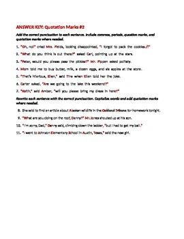 ELA QUOTATION MARKS Punctuating Direct & Indirect Quotes WORKSHEET #2 w/ Answers