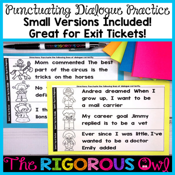 Quotation Marks Punctuating Dialogue Practice