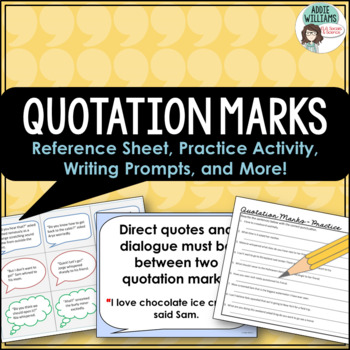 quotation marks review with writing prompts reference sheets more