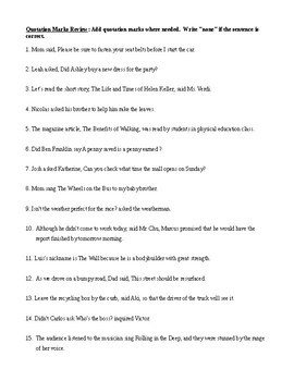 Quotation Mark Rules, Review Worksheet, and Answer Key