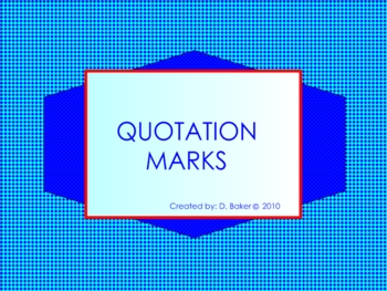 Quotation Marks Smartboard Lesson