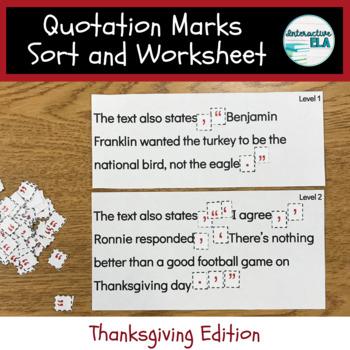 Quotation Marks Sort + Worksheet: Thanksgiving Edition